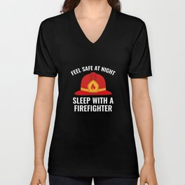 Sleep With A Firefighter Unisex V-Neck