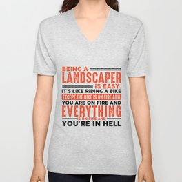 Being a Maintenance Worker Is Easy Shirt Everything On Fire Unisex V-Neck