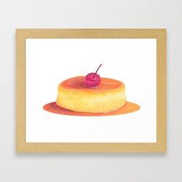 Caramel flan, vanilla custard, pop art watercolor illustration Framed Art Print