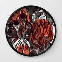mushrooms Wall Clocks featuring Mushrooms by pam wishbow