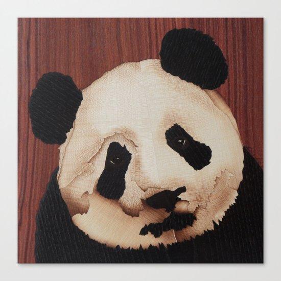 Cute Panda bear wooden marquetry Canvas Print