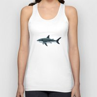 biology Tank Tops featuring Carcharodon carcharias  ~ Great White Shark by Amber Marine