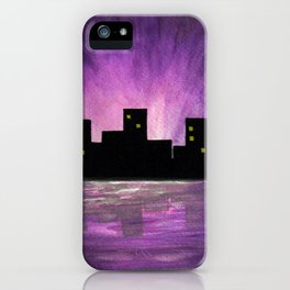 Silhouette buildings by the lake - Watercolour Art iPhone Case