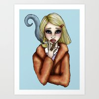 tenenbaum Art Prints featuring Margo Tenenbaum by Hungry Designs