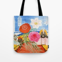 Red Poppies, Calla Lilies, Peonies & NYC Family Portrait by Florine Stettheimer Tote Bag