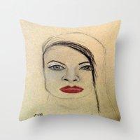 fierce Throw Pillows featuring Fierce by Darla Designs