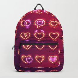 Glowing Neon Hearts Seamless Background Backpack