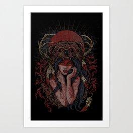 Tattooed Bear Art Print