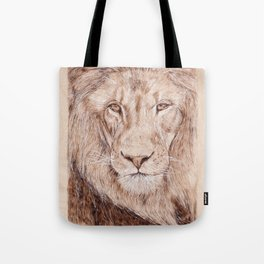 Lion Portrait - Drawing by Burning on Wood - Pyrography Art Tote Bag