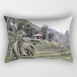 Rice Terraces Palmtree Landscape Art Print | Ubud Bali Indonesia Photo | Island Travel Photography Rectangular Pillow