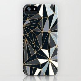 Stylish Art Deco Geometric Pattern - Black, blue, Gold #abstract #pattern iPhone Case