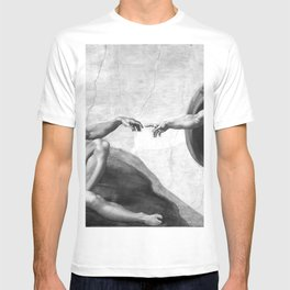 Black and White Creation of Adam Painting by Michelangelo Sistine Chapel T-shirt