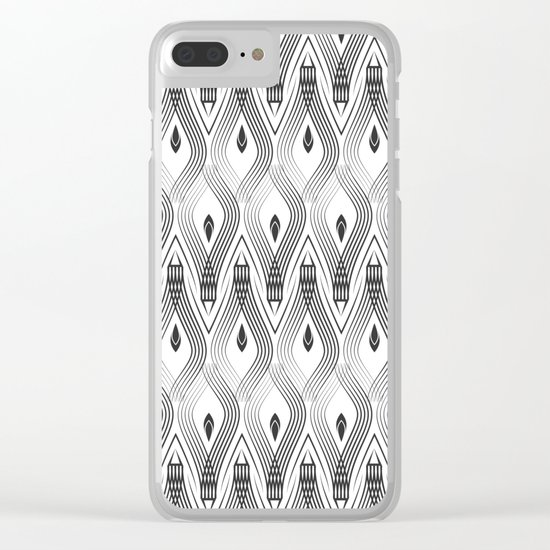 Art Deco 56 . black and gray spiral . Clear iPhone Case