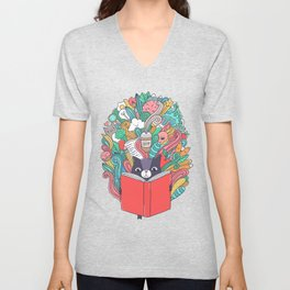 Cat reading a book. Unisex V-Neck