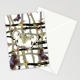 #2 PURPLE-WHITE MOTHS  ON BLACKTHORN LATTICE BRANCHES ART Stationery Cards