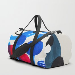 Mid Century Modern Abstract Colorful Art Patterns Ocean Blue Turquoise Grey Duffle Bag