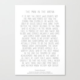 The Man In The Arena by Theodore Roosevelt 2 #minimalism Canvas Print