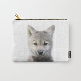 Baby Wolf, Baby Animals Art Print By Synplus Carry-All Pouch