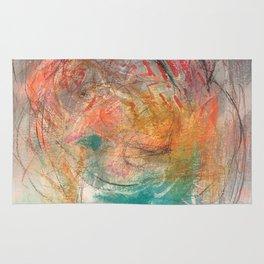 Naive - Abstract painting mixed media - luminous Rug