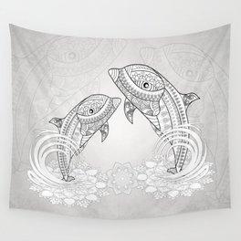 Beautiful dolphin, mandala design Wall Tapestry