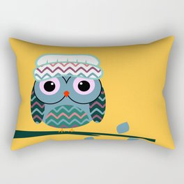 Cute owl sitting on a branch Rectangular Pillow