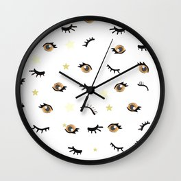 Eyes. Hand drawn closed and opened eye. Seamless eyes pattern Wall Clock