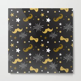 Festive gold and white mustache & bowties pattern Metal Print