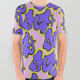 Stay Graffiti Pattern - Purple Groove All Over Graphic Tee