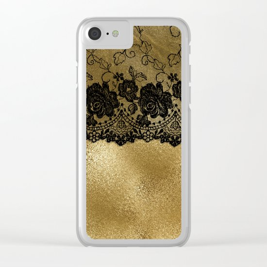 Black luxury lace on gold metal- Elegant design Clear iPhone Case