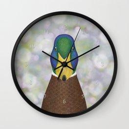 mallard duck woodland animal portrait Wall Clock