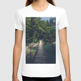 Simple suspension bridge over river Idrijca, Slovenia T-shirt