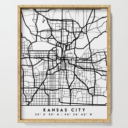 KANSAS CITY MISSOURI BLACK CITY STREET MAP ART Serving Tray