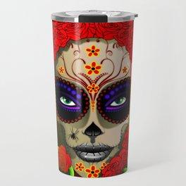 Skull Girl Dia de los Muertos Portrait Travel Mug