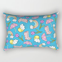 Bright April Showers Pattern on Blue Rectangular Pillow