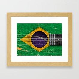 Old Vintage Acoustic Guitar with Brazilian Flag Framed Art Print