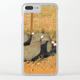 Guinea-fowl Gathering Clear iPhone Case