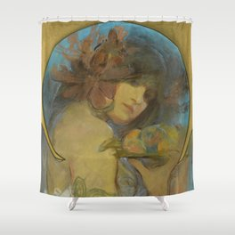 """Alphonse Mucha """"Study for a poster - Fruit"""" Shower Curtain"""