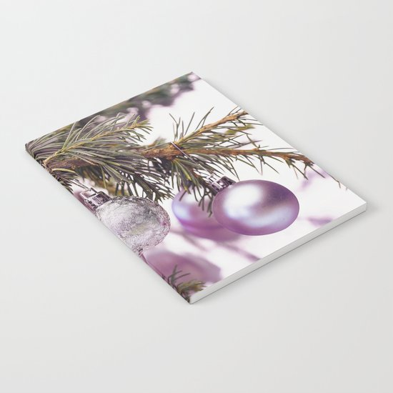 Pink Christmas shimmering baubles twig Notebook
