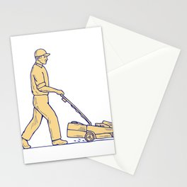 Gardener Mowing Lawnmower Drawing Stationery Cards