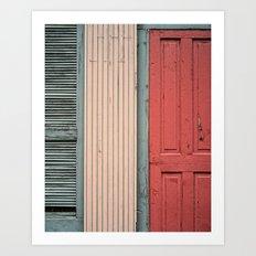 Teal shutter, coral door Art Print