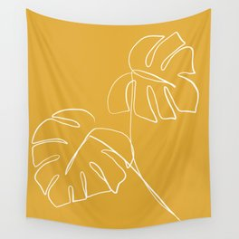 Monstera minimal - yellow Wall Tapestry