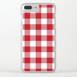 Buffalo Plaid - Red & White Clear iPhone Case