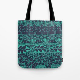 Mountain Tapestry in Midnight Teal Tote Bag
