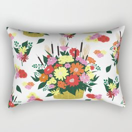 Background with basket of flowers Rectangular Pillow