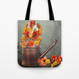 Copper Watering Can and Poppies Tote Bag