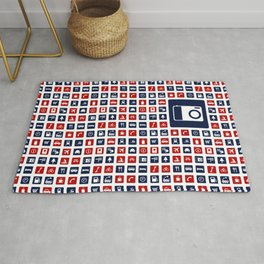 Travel Icons in RWB Rug