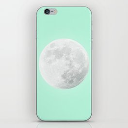 WHITE MOON + TEAL SKY iPhone Skin