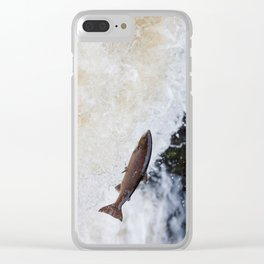 salmon leaping up the waterfall Clear iPhone Case