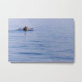 Lonely turkish fisherman on the sea of Izmir Metal Print