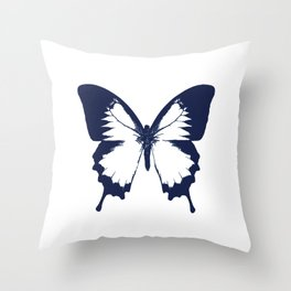 Navy and White Butterfly Throw Pillow